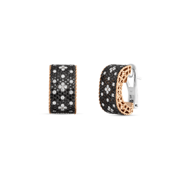 18KT GOLD EARRINGS WITH BLACK AND WHITE FLEUR DE LIS DIAMONDS