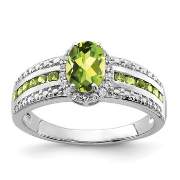 Sterling Silver Rhodium Polished Peridot & White Topaz Ring