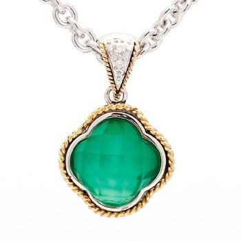 18kt and Sterling Silver Green Agate Clover Diamond Pendant with Chain