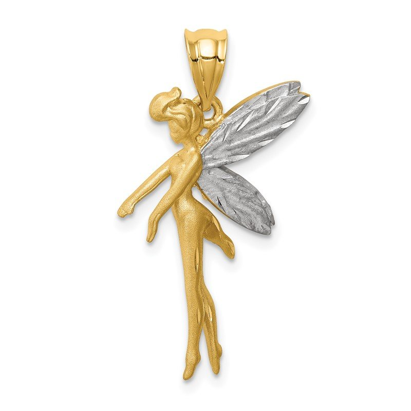 Quality Gold 14k and White Rhodium D/C Fairy Pendant