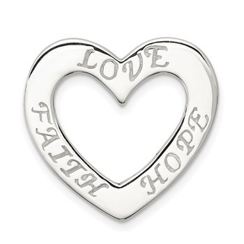 Sterling Silver Faith, Hope, and Love Heart Pendant
