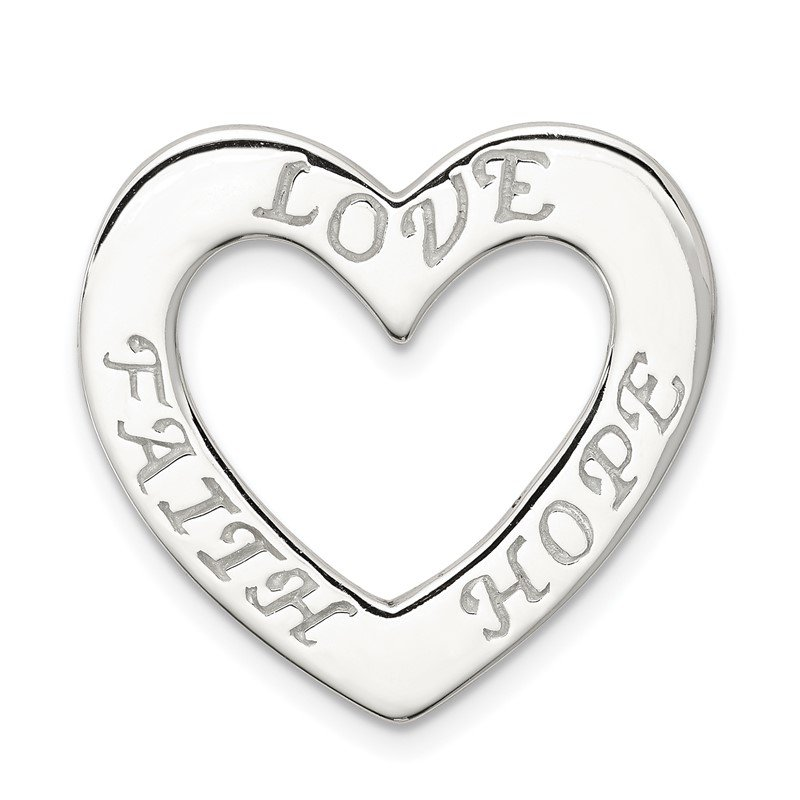 Quality Gold Sterling Silver Faith, Hope, and Love Heart Pendant