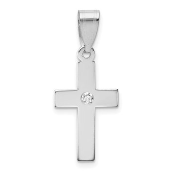 14k White Gold .01ct. Diamond Cross Pendant