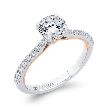 18K Two-Tone Gold Round Diamond Engagement Ring (Semi-Mount)