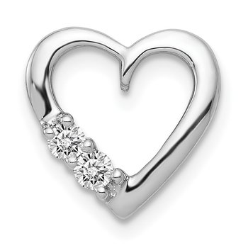 14k White Gold 1/10ct. Diamond Heart Chain Slide