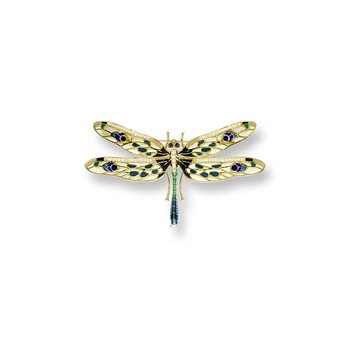 Yellow Dragonfly Brooch.18K -Diamonds and Blue Sapphires - Plique-a-Jour