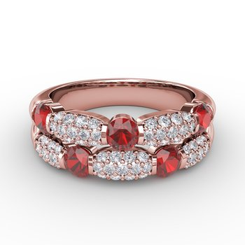 Major Moves Ruby and Diamond Double Row Ring