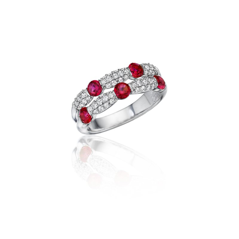 Fana Major Moves Ruby and Diamond Double Row Ring