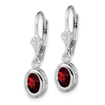 Sterling Silver Rhodium 7x5mm Oval Garnet Leverback Earrings