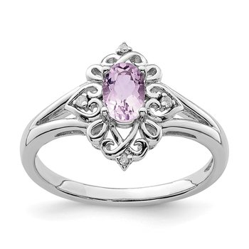 Sterling Silver Rhodium Pink Quartz Diam. Ring