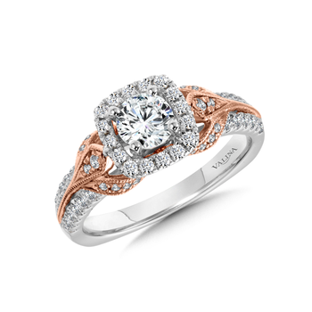 Diamond Halo Engagement Ring Mounting in 14K White and Rose Gold (0.51 ct. tw.)