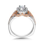 Valina Diamond Halo Engagement Ring Mounting in 14K White and Rose Gold (0.51 ct. tw.)