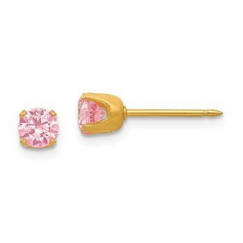 Inverness 24k Gold Plated 5mm Pink CZ Earrings