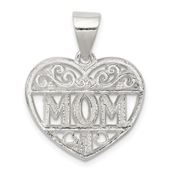 Sterling Silver Filigree Mom Heart Charm