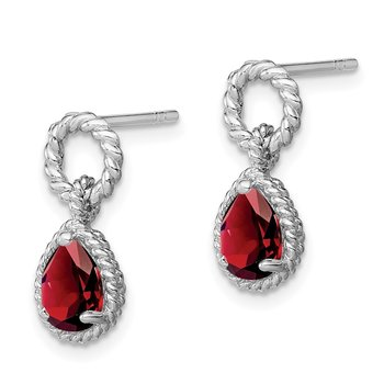 Sterling Silver Rhodium Garnet Twisted Circle Post Earrings