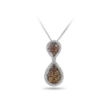 14K WG and diamond and champagne diamond Double Drop pendant in split prong and scallop prong setting