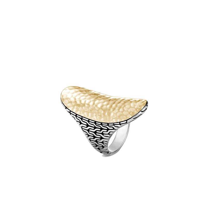 JOHN HARDY Classic Chain Saddle Ring in Silver and Hammered 18K Gold