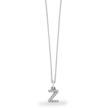 "Diamond Baby Block Initial ""Z"" Necklace in 14k White Gold with 12 Diamonds weighing .10ct tw."