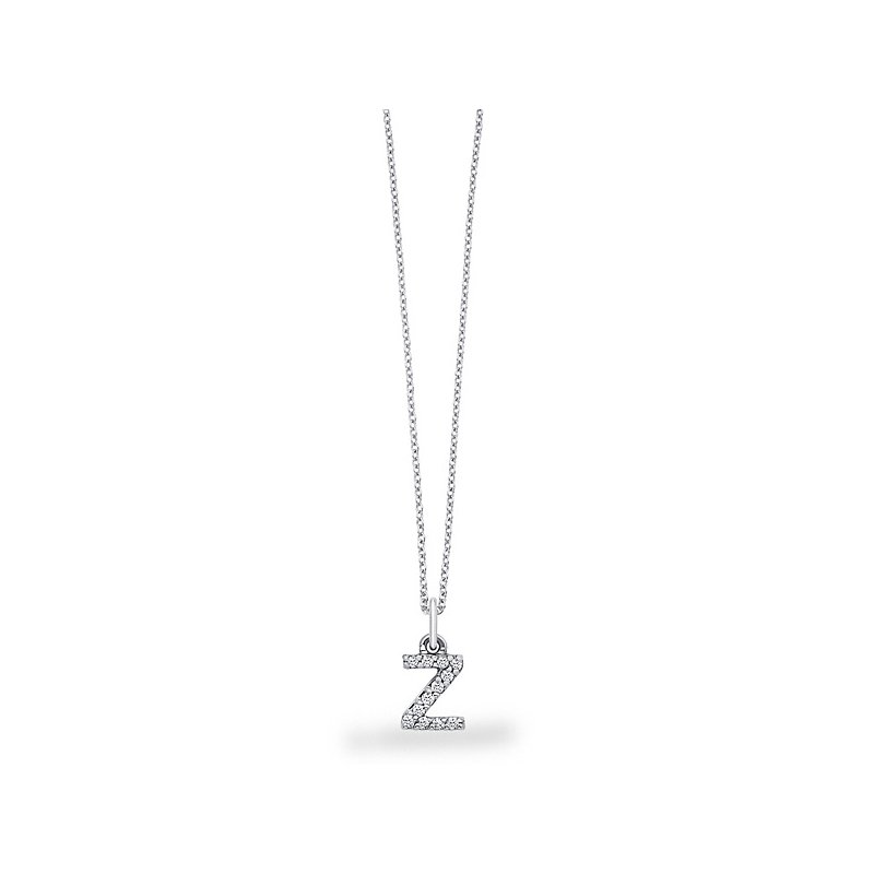 "KC Designs Diamond Baby Block Initial ""Z"" Necklace in 14k White Gold with 12 Diamonds weighing .10ct tw."