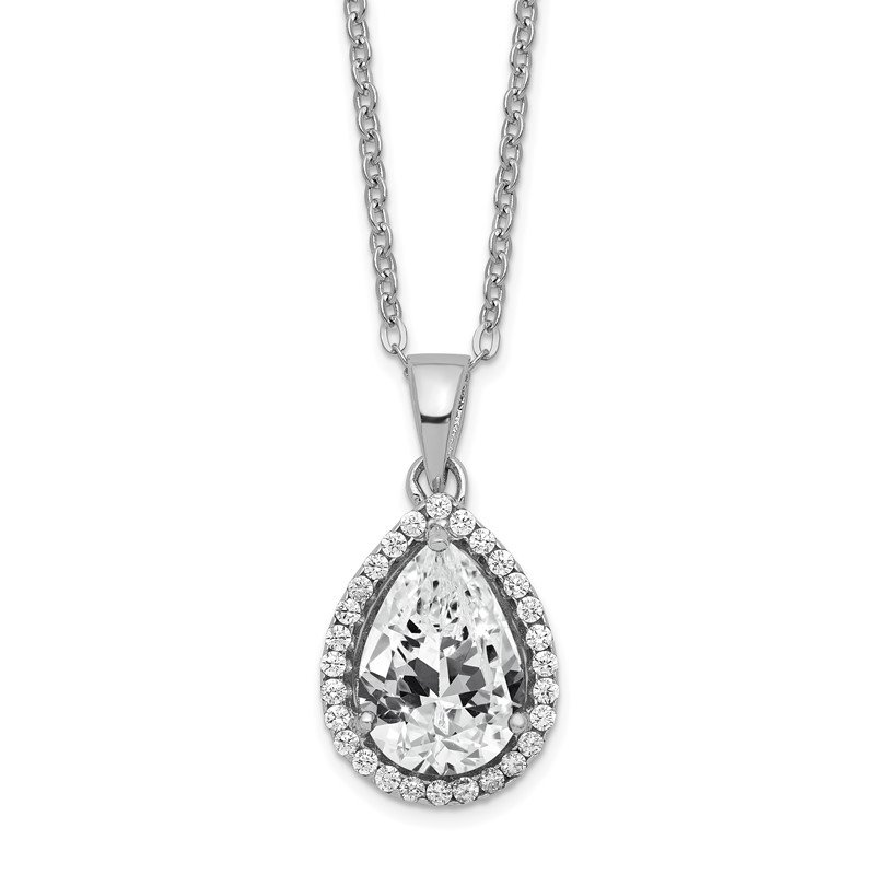 Fine Jewelry by JBD Sterling Silver Rhodium Created White Topaz & CZ Necklace