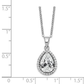 Sterling Silver Rhodium Created White Topaz & CZ Necklace