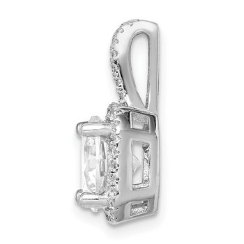Sterling Silver Rhodium-platedCZ Halo Pendant