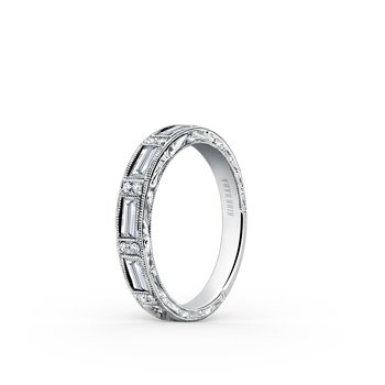 Deco Engraved Baguette Diamond Wedding Band