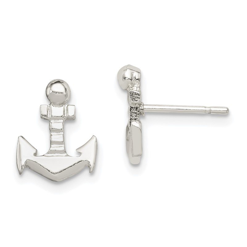 Quality Gold Sterling Silver Anchor Mini Post Earrings