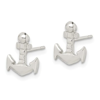 Sterling Silver Anchor Mini Post Earrings