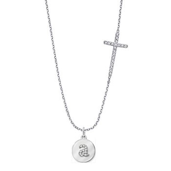 Diamond Side-Set Cross With Mini Disc Initial in 14k White Gold with Varies by initial