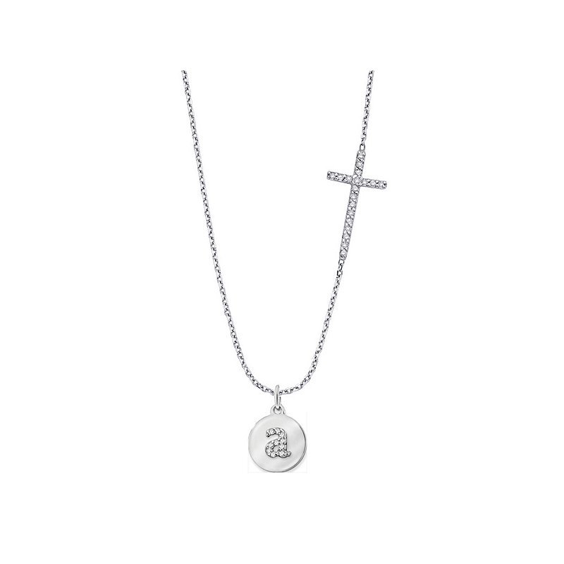 KC Designs Diamond Side-Set Cross With Mini Disc Initial in 14k White Gold with Varies by initial