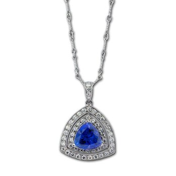 Trilliant Tanzanite & Diamond Pendant