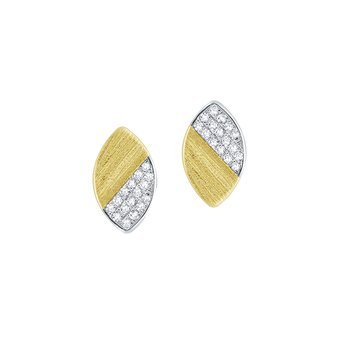 Diamond Marquise Shape Stud Earrings Set in 14 Kt. Gold