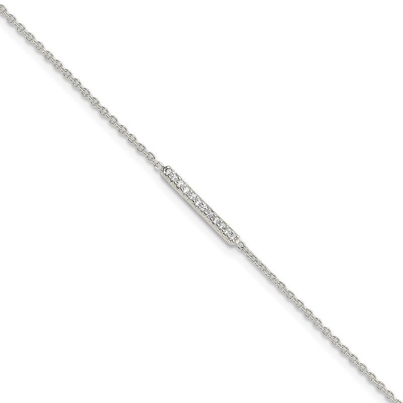 Quality Gold Sterling Silver Polished CZ Bar 9in Plus 1in Ext. Anklet
