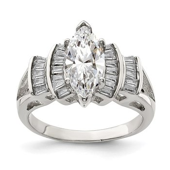 Sterling Silver Rhodium-plated Marquise Shape Center CZ Ring