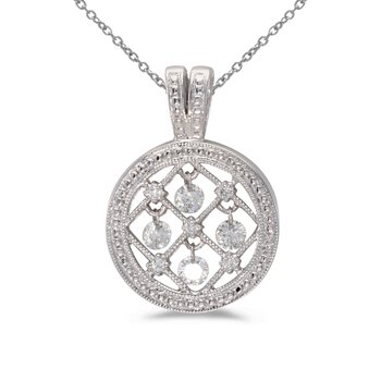 10k White Gold .37 ct Dashing Diamonds Disc Pendant