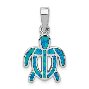Sterling Silver Created Blue Opal Inlay Tortoise Pendant