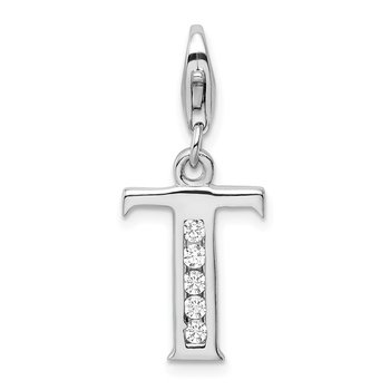 Sterling Silver Amore La Vita Rhodium-plated CZ Letter T Initial Charm
