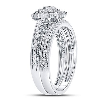 10kt White Gold Womens Round Diamond Milgrain Bridal Wedding Ring Set 1/3 Cttw