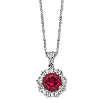 Cheryl M Sterling Silver Rhodium Plated Created Ruby & CZ 18in Necklace