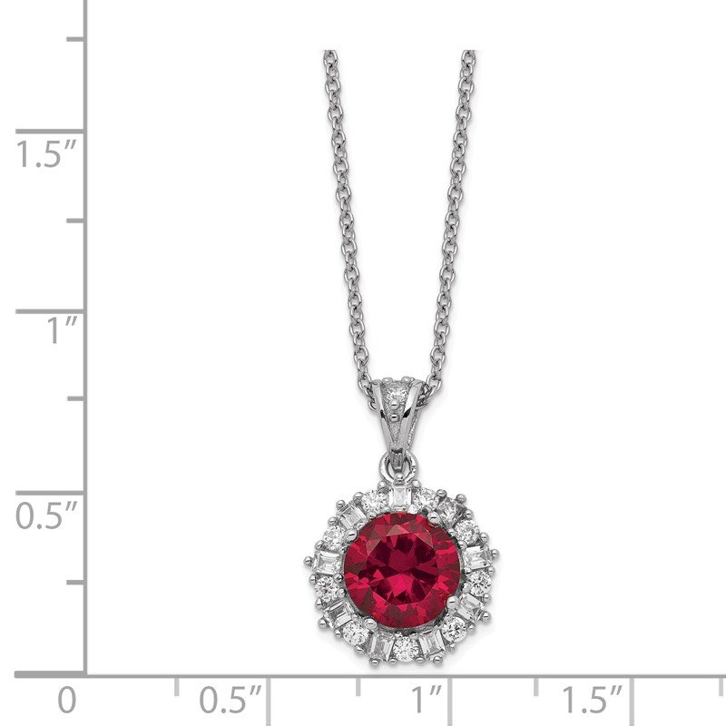 Cheryl M Cheryl M Sterling Silver Rhodium Plated Created Ruby & CZ 18in Necklace