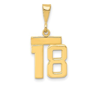 14k Small Polished Number 18 Charm