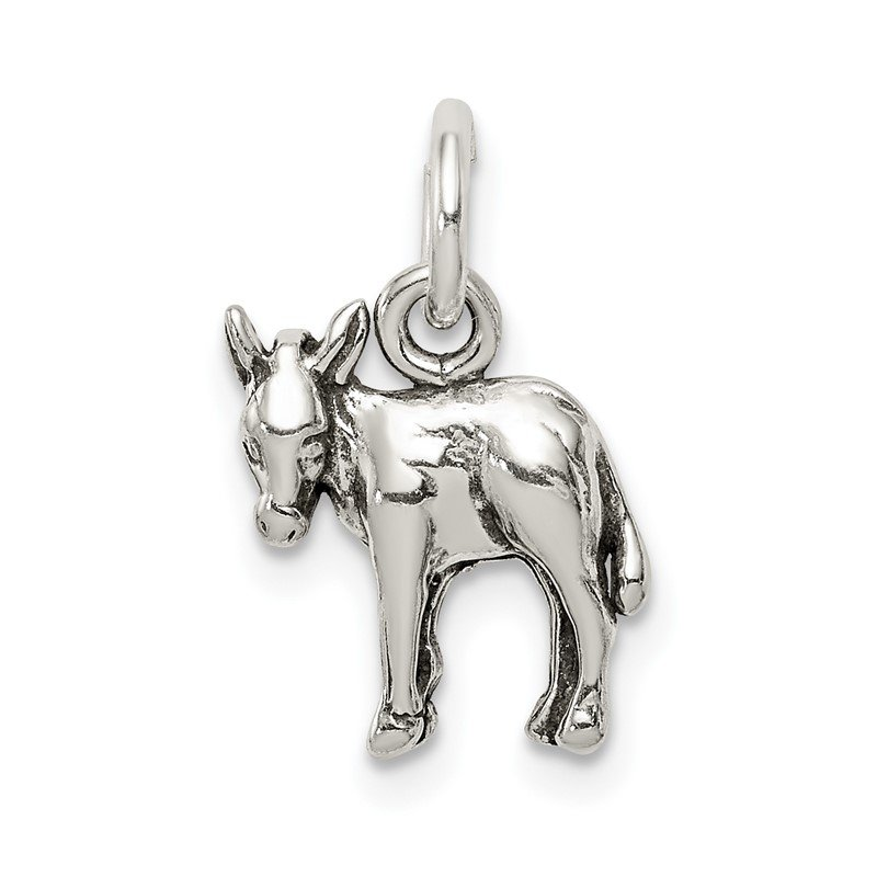 Quality Gold Sterling Silver Antiqued Donkey Charm