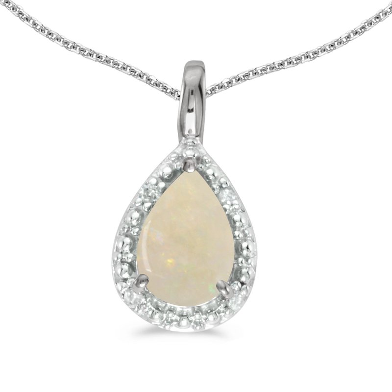 Color Merchants 10k White Gold Pear Opal Pendant