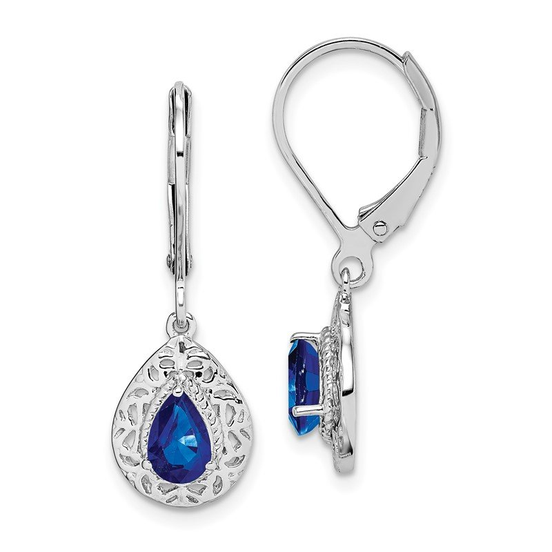 Sterling Silver Rhodium-plated Sapphire Teardrop Lever Back Earrings