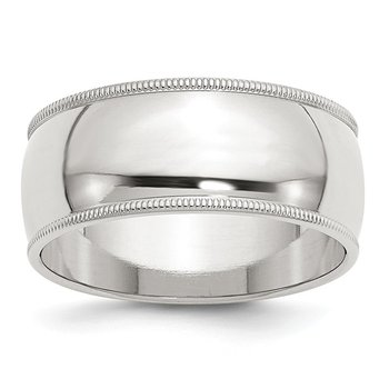 Sterling Silver 9mm Half Round Milgrain Band