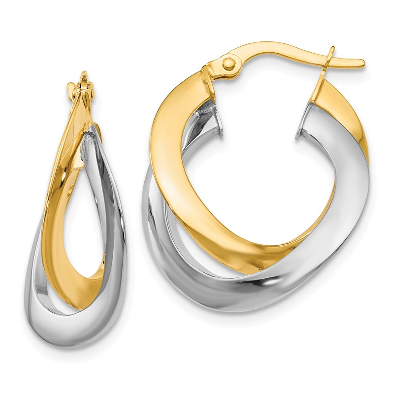 14kt Two Tone Polished Double Hoops