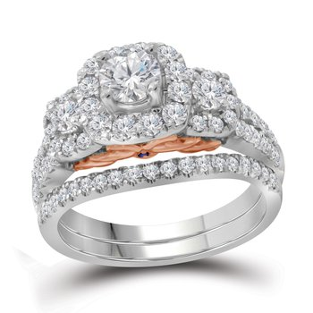 1 1/2CTW 14KT 3/8CT-CRD BRIDAL SET