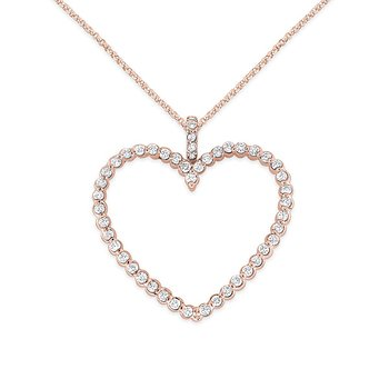 Diamond Heart Necklace in 14k Rose Gold with 49 Diamonds weighing 1.03ct tw.