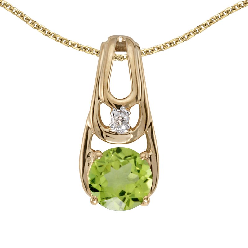Color Merchants 10k Yellow Gold Round Peridot And Diamond Pendant